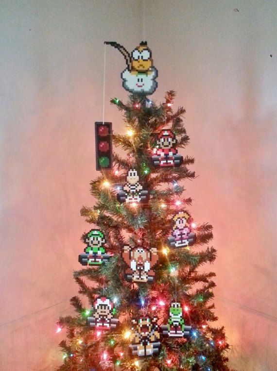 items similar to original super mario kart perler bead christmas tree topper and ornament set piece new years eve party december gifts trending on - Best Christmas Tree Toppers