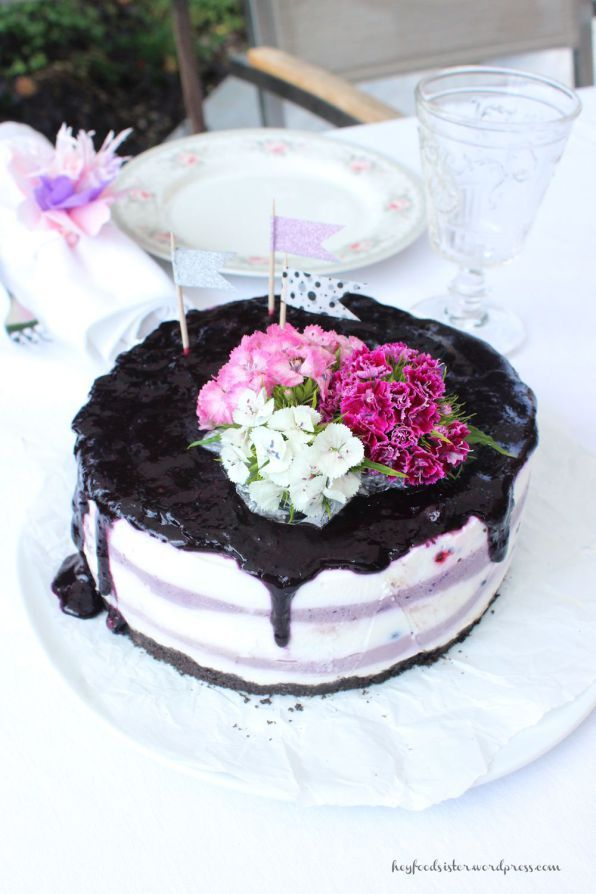 Bloggeburtstag No Bake Blueberry Cheesecake