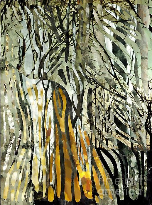 BIRCH FOREST  Mixed Media by Sarah Loft.