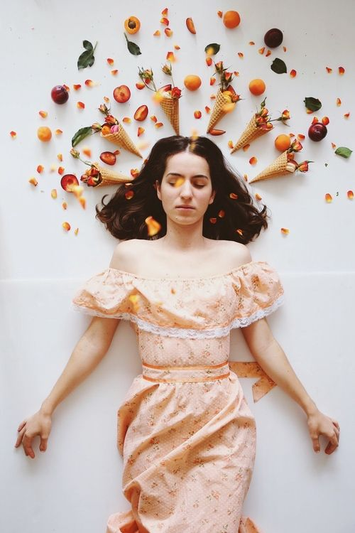 THE PATTERN PROJECT | where FASHION + FOOD collide | peach, plum & rose cones + vintage dress.