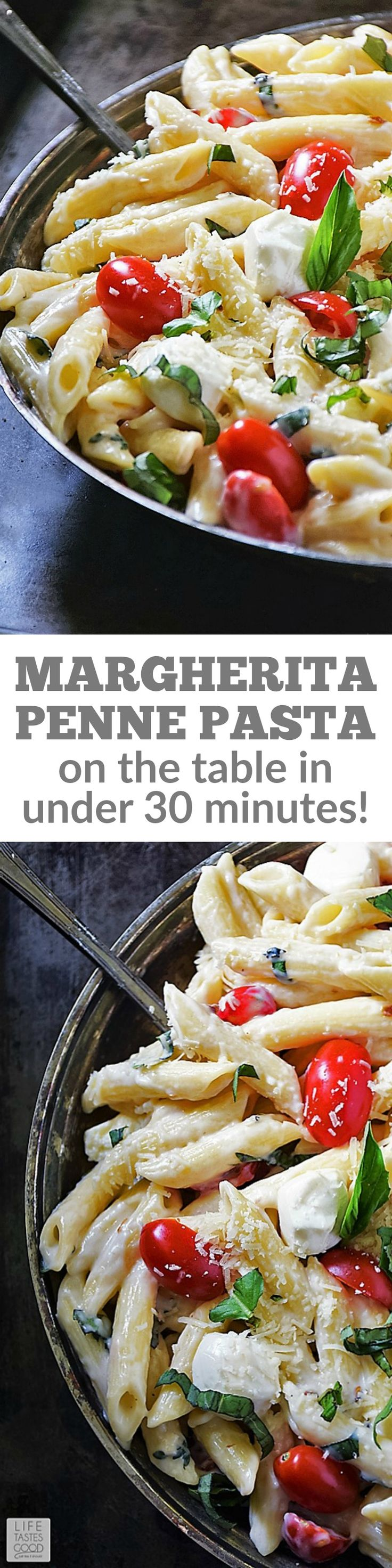 Margherita Penne Pasta | by Life Tastes Good made with fresh tomatoes, basil, and a cheesy milk based sauce is an easy recipe the whole family will love! I like how I can have this on the table in under 30 minutes! Many times the simplest recipes taste the best!