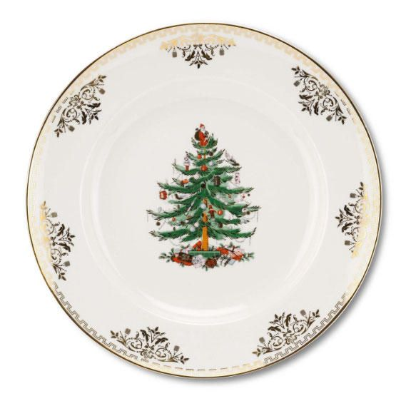 Christmas China Patterns You'll Love for Your Southern Home: Spode 'Christmas Tree Gold'