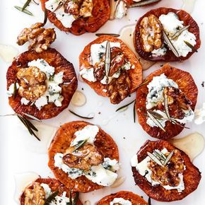 "Sweet Potato ""Crostini"" with Blue Cheese and Honey 