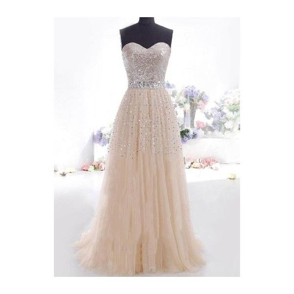 Rotita Apricot Sequin Embellished Strapless Prom Dress (185 CNY) ❤ liked on Polyvore featuring dresses, gowns, vestidos, robes, apricot, sleeve maxi dress, strapless prom dresses, strapless maxi dress, tube maxi dress and strapless gown