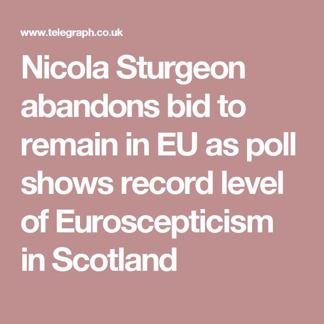 Nicola Sturgeon abandons bid to remain in EU as poll shows record level of Euroscepticism in Scotland