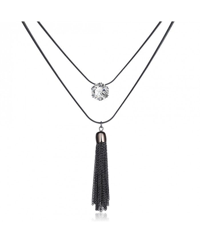 Black Gun Color Long Chain Two Layers of Necklace Lengths with Tassel Pendant