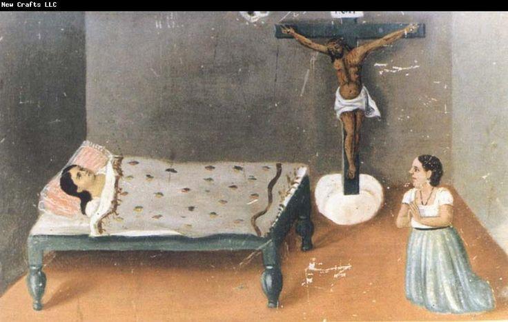 Frida Kahlo For Henry Ford Hospital,Frida used the retablo or votive painting format.