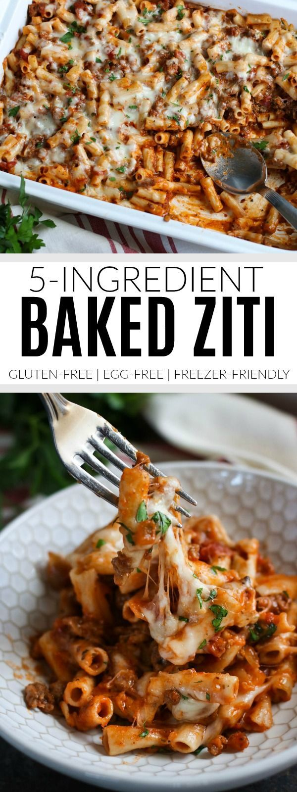 5-Ingredient Baked Ziti | gluten-free baked ziti | egg-free baked ziti | freezer-friendly baked ziti | easy baked ziti recipe | gluten-free pasta recipes | gluten-free dinner recipes || The Real Food Dietitians #glutenfreedinner #bakedziti #easydinners