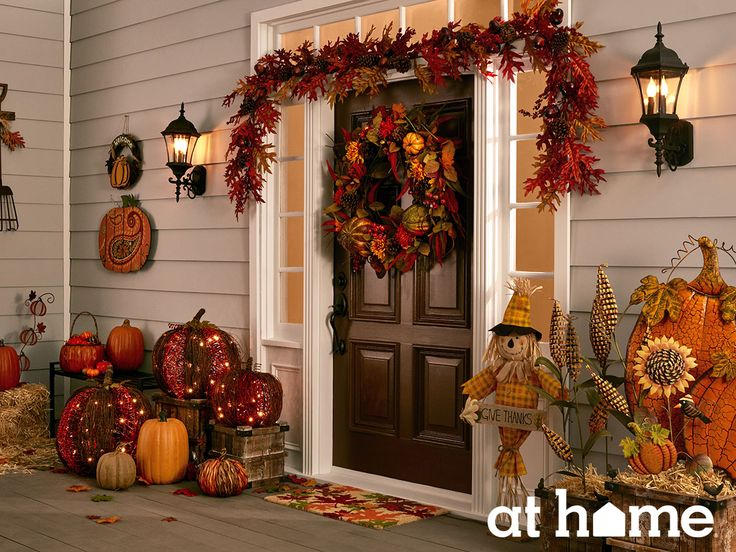 Welcome friends and family to your home with warm and inviting autumn dcor  on your porch.