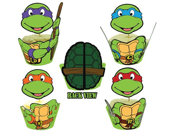 INSTANT DOWNLOAD Teenage Mutant Ninja Turtles Cupcake Toppers Wrappers - Birthday Party Printables $8