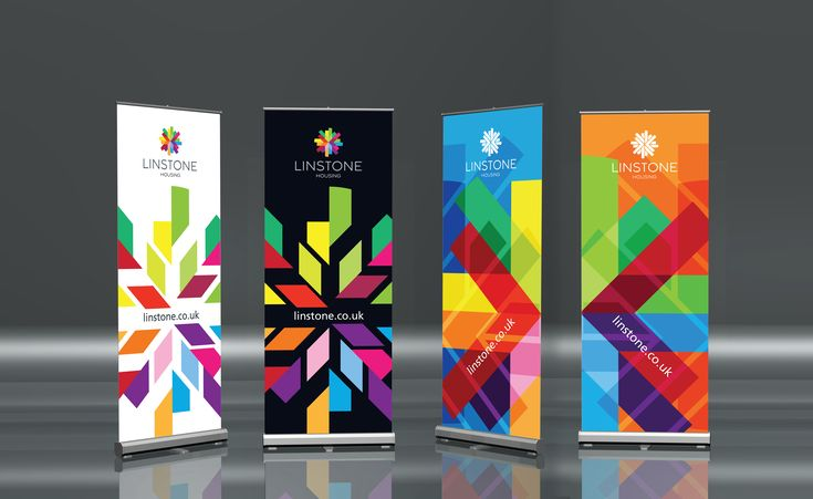 Roller banner design - love the idea of having the whole piece patterned/colourful (could use water marbling patten across whole design)