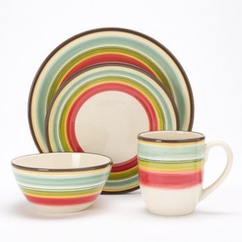 Bobby Flay Santa Fe Striped 4-pc. Place SettingFe Stripes, Kitchens Decor, Bobby Flay, Decor Ideas, Stripes 4Pc, Stripes 4 Pc, Flay Santa, Santa Fe, Places Sets