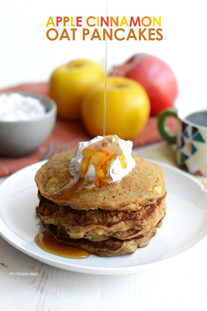 These Gluten-Free Apple Cinnamon Oat Pancakes are hearty and delish. They are made with 100% whole grains, no refined sugars, and real apple chunks!
