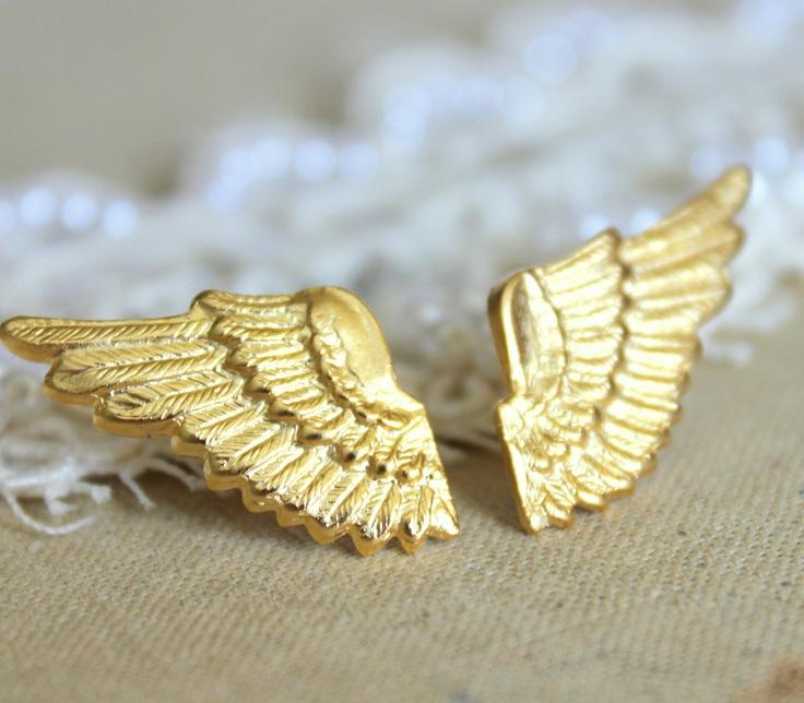 Angel wings post earrings 18k gold plated.  $24.00Angel Wings, Post Earrings, Gold Plates, Earrings 18K, Wings Post, Gold Wings, Wings Earrings, Angels Wings, 18K Gold