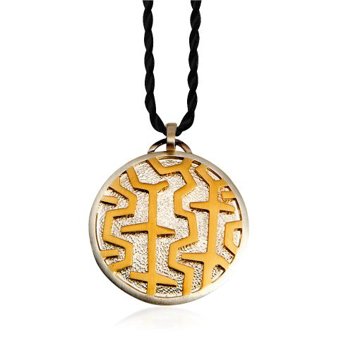 Entasis pendant in 18KT yellow gold and silver.