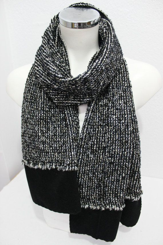 Male black white scarf, Black white hairy, Black and white scarf, Black and white, Men gifts, Scarves woven fabrics, White scarf Men black