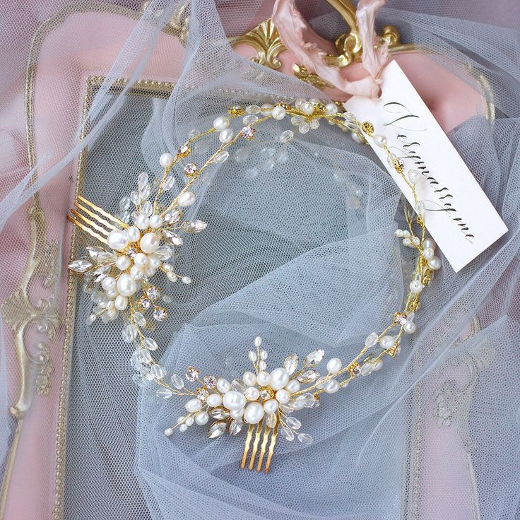 Gold bridal wreath freshwater pearls vine gold wedding