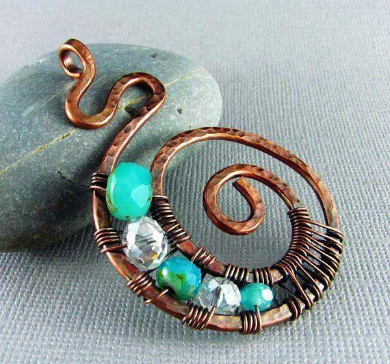 Copper Wire Jewelry   Wire Wrapped Pendant Handmade Art Jewelry Wire Wrapped Jewelry Copper ...