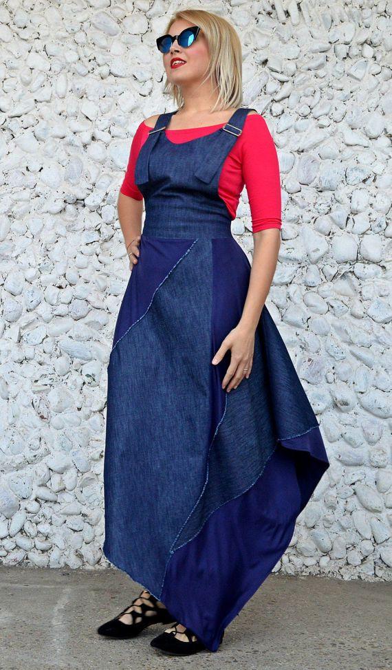 Denim Overall Dress Denim Maxi Dress Fit And Flared Dress https://www.etsy.com/listing/502311226/denim-overall-dress-denim-maxi-dress-fit?utm_campaign=crowdfire&utm_content=crowdfire&utm_medium=social&utm_source=pinterest