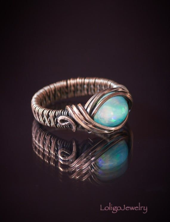 Copper wire pearl lady ring