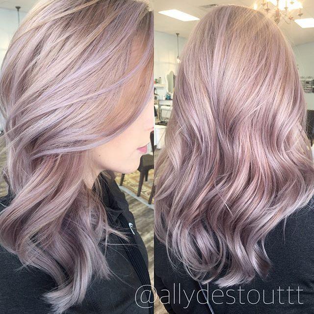 Some rose gold/lavender goodness  #rosegold #lavender #curls #pastel #love…