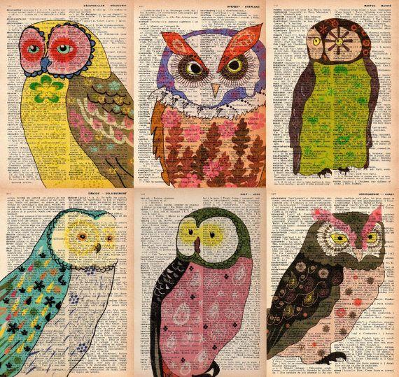 set of 6 - vintage dictionary prints - owl prints - owl art prints - vintage book page prints. $30.00, via Etsy.