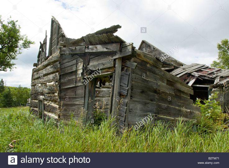 Old abandoned log cabin in haliburton ontario canada stock