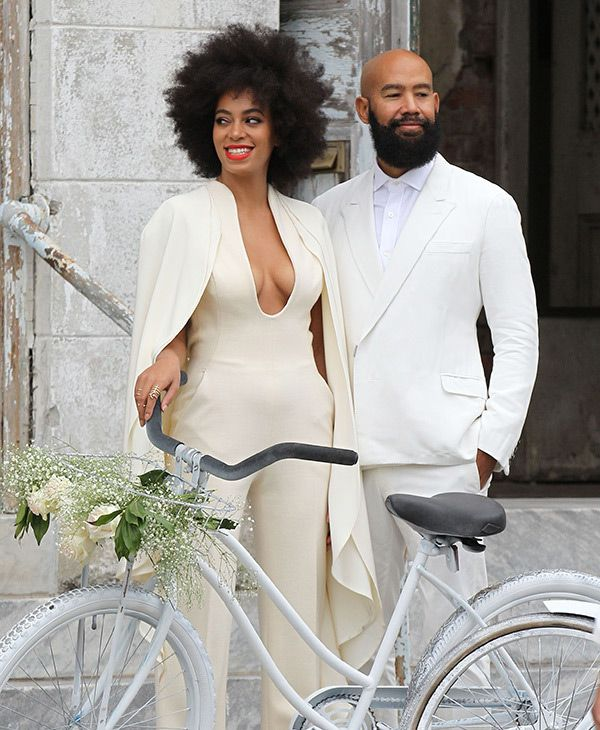 Solange Knowles wedding day style - trousers and a cape (that's two top trends for 2015!)