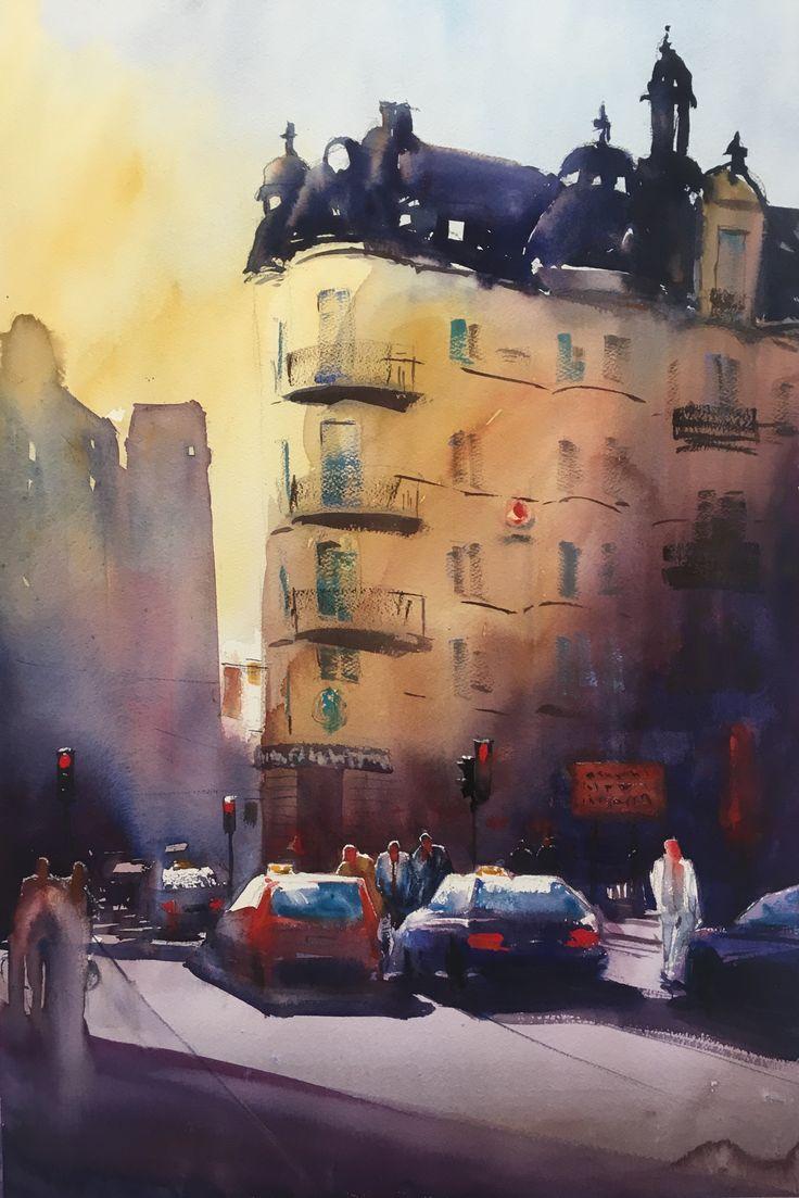 The Man in White, Watercolor, Stefan Gadnell