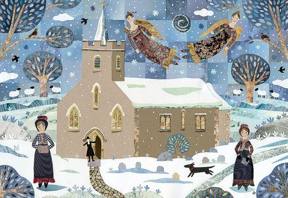 Jane Austen Christmas Card - Church - Snow - Dog - Christmas Angels - Snowscape - Holiday - Traditional Christmas - Naive Art - Collage -