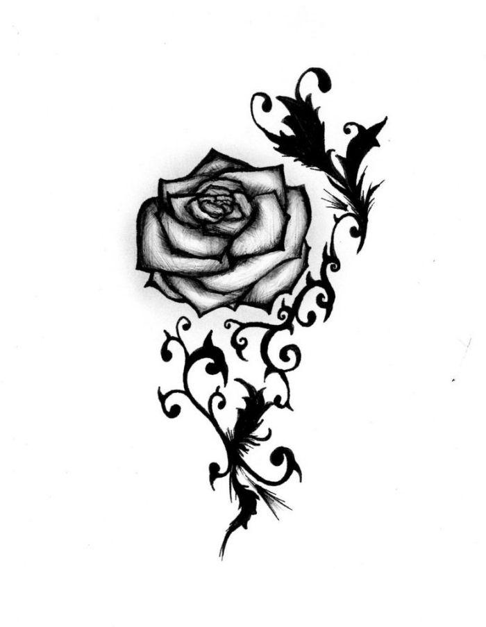 Rose-Tattoo-Vorlagen, stilisierte Blätter und Dornen