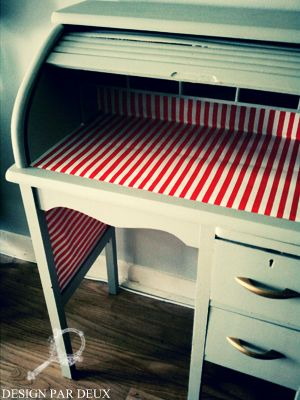 Painted rolltop desk.  Like the stripes and the color. (modgepodged wrapping paper)