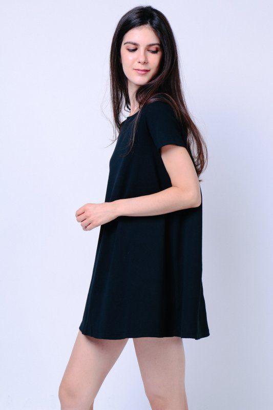 Ribbed Knit Sleeve Dress (Black)