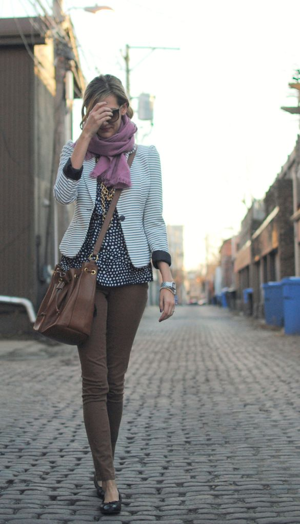 Like the navy striped blazer with navy dotted blouse with brown.