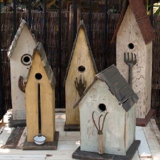 rustic birdhouses, distressed metal findings