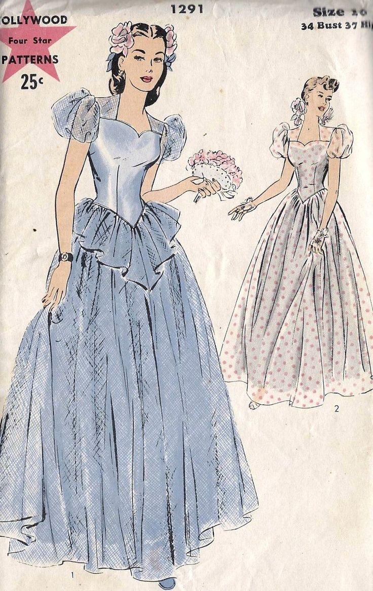1940s Formal Dresses Prom Dresses Cocktail Dresses History Vintage Wedding Dress Pattern Dress History Wedding Gowns Vintage [ 1165 x 736 Pixel ]