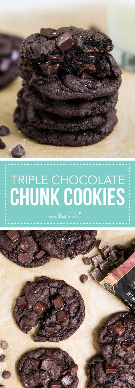 Tripel Chocolate Chunk Cookies