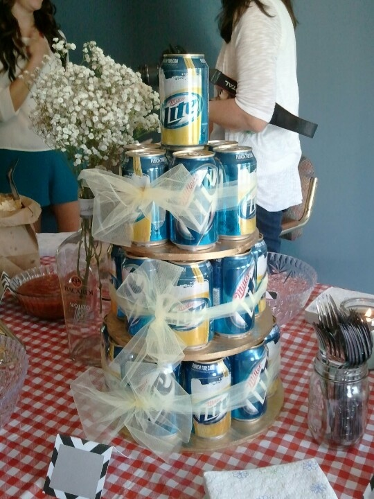 Beer cake  Made this for my brother-in-law's honey-do shower.