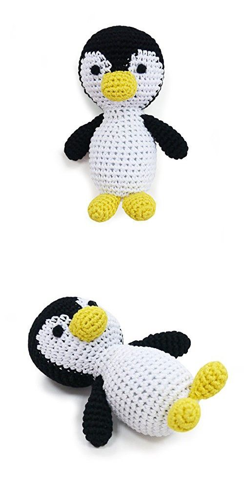 Cotton Crochet Squeaky Dog Toy Penguin Dog Toys Cotton