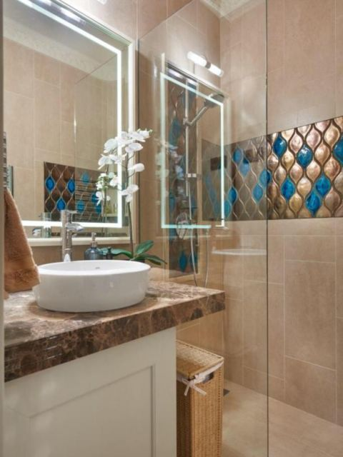 Bathroom design with beige colour