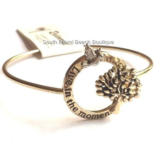 Gold Plated Tree of Life Bracelet Bangle Celtic Live in the Moment Message USA #Redwood #Bangle