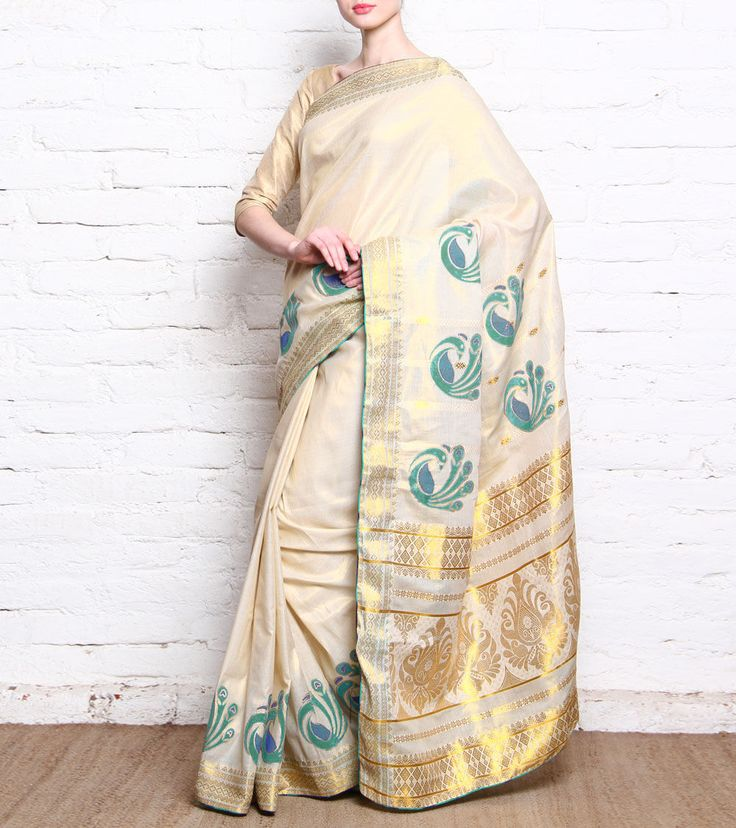 Anita Kanwal - Beige Kerala Cotton & Tissue Saree With Blue Peacock Prints CLICK ON THE PHOTO TO SHOP!