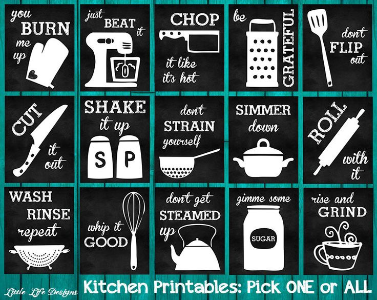 Kitchen Decor. Kitchen Utensil Art. Kitchen Wall Art. Funny Kitchen Chalkboard Signs. Whip it Good. Just Beat It. Roll With It. Kitchen Art. by LittleLifeDesigns on Etsy https://www.etsy.com/listing/197105672/kitchen-decor-kitchen-utensil-art                                                                                                                                                                                 More