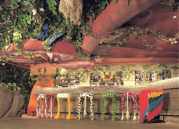 Our Mushroom Bar with our funky animal stools! A Wild Place to Shop and Eat! http://www.therainforestcafe.co.uk