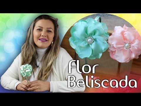 Grosgrain flowers with beads -DIY - YouTube