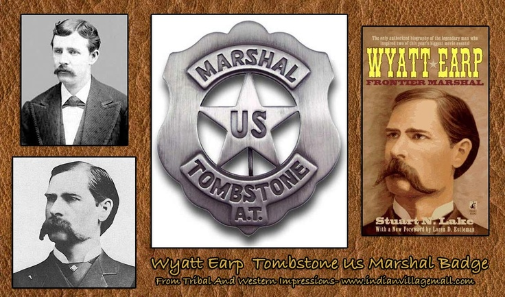 Wyatt Earp Tombstone US Marshal Arizona Terroritory (AT) Badge -Review the Old West Movie And TV Prop Badge Collection  From Tribal And Western Impressions off of: http://www.indianvillagemall.com/moviesetbadges.html