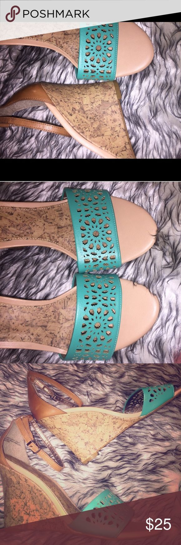 Loft wedges Chic Ann Taylor Loft wedge sandals. EUC. Turquoise and tan with a scalloped design and a modest wedge heel. Size 7m. Perfect for date night or paired with jeans.  Really feminine!    Tags: work wear , spring , bright , teal, wedges, Anne Taylor LOFT Shoes Wedges
