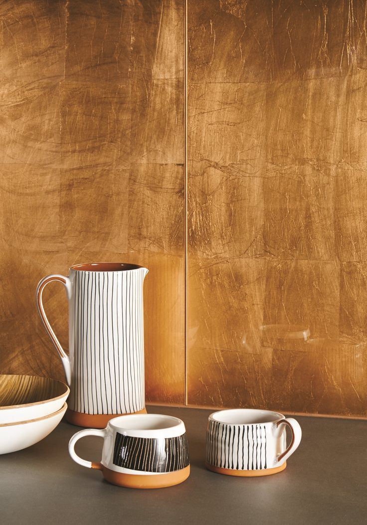 Metallic Copper Leaf glass tiles are made by applying copper leaf foil which is encased in glass. Each tile is slightly different, so these are perfect for creating a statement. www.originalstyle.com