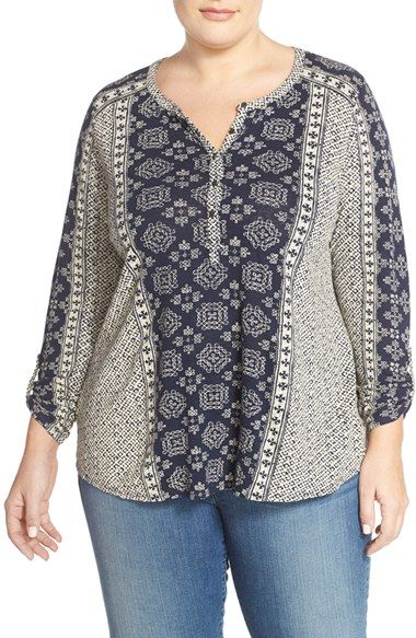 Lucky Brand 'Etched Geo' Henley Top (Plus Size) available at #Nordstrom