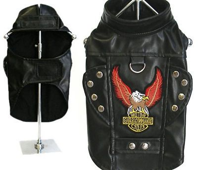 Motorcycle Leather Jacket Dog Harness Eagle Patch Studded